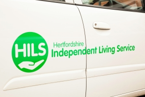 HILS - close up of logo on van R